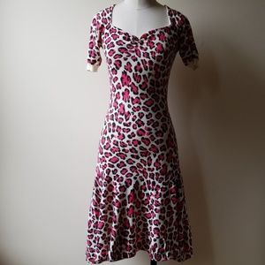 Betsey Johnson Pink Leopard Print Dress Size S